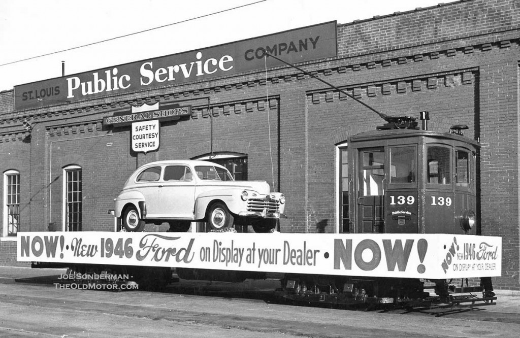 Ironic Iron – A New Ford Takes a Trolley Ride, St. Louis, MO., c ...