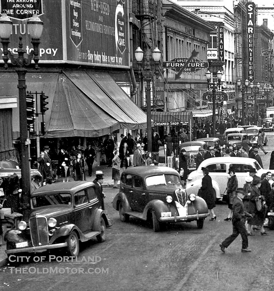 Best 25 Used Cars In Portland Oregon: A Busy Day In Downtown Portland, Oregon, C.1939