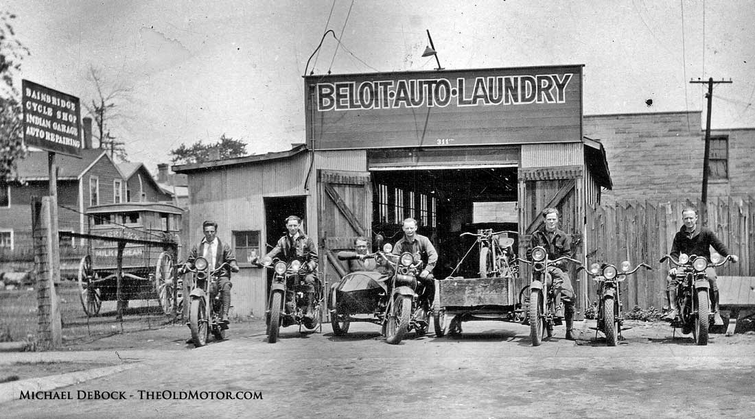 Beloit Wisconsin auto laundry 1920s Harley-davidson and Indian motorcycles