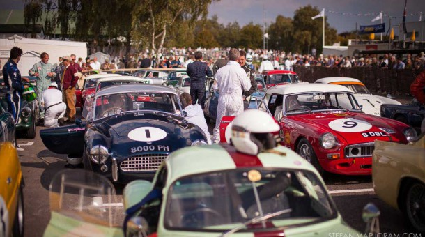 Assembly area at the 2014 Goodwood Revival filled with racing cars