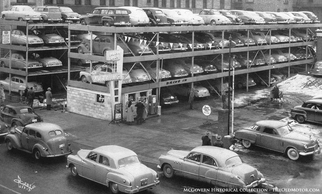 Parking Lot Series: Pigeon Hole Parking for Automobiles | The Old Motor