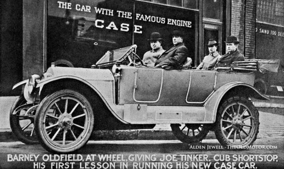 Barney Oldfield Joe Tinker and a Case model 40 automobile