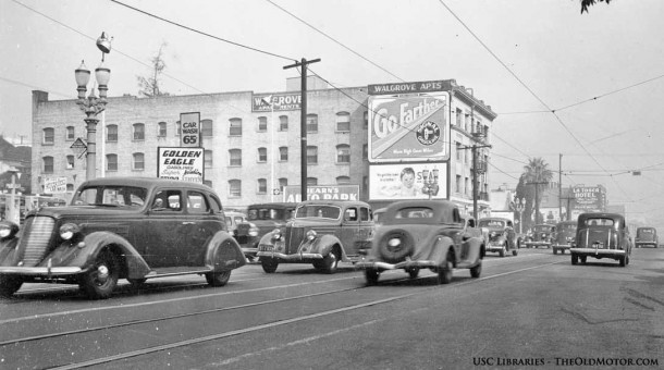 Figueroa Street Los Angels 1930s with automobiles