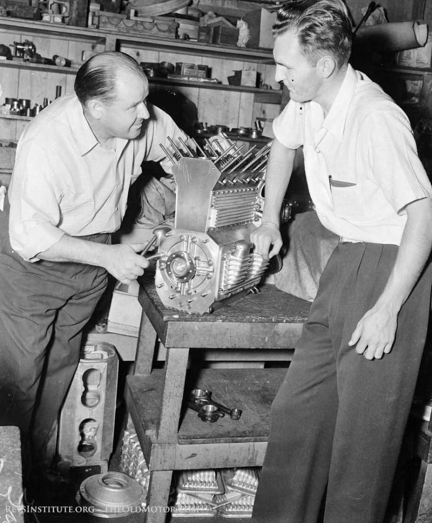 Fred Offenhauser assembling a midget engine
