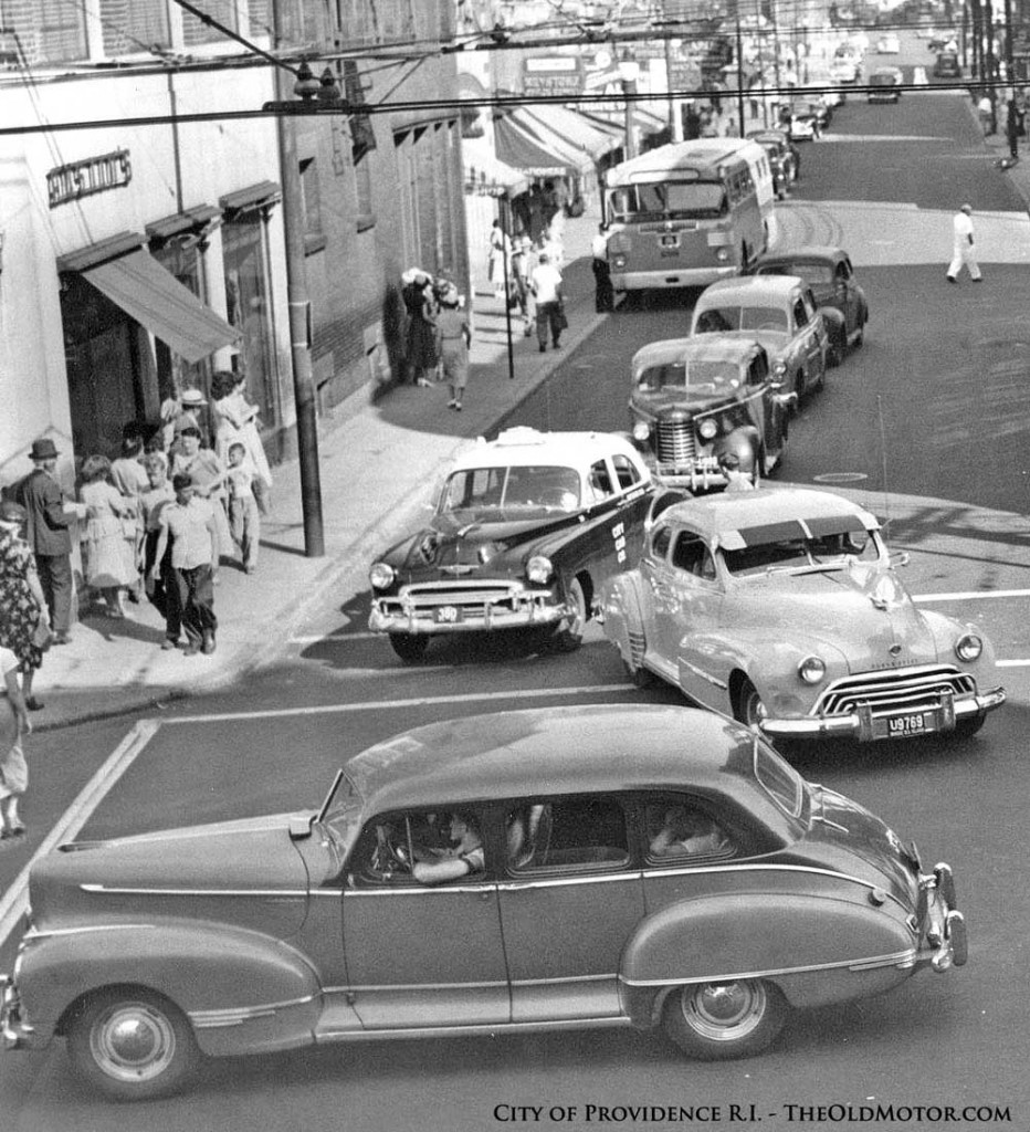 an early fifties providence rhode island street scene