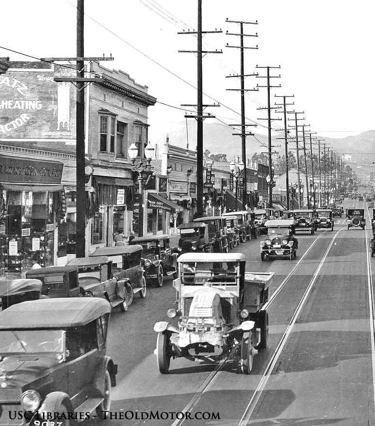 1920s Mack Truck  and 1920s cars in a Vintage Street Scene