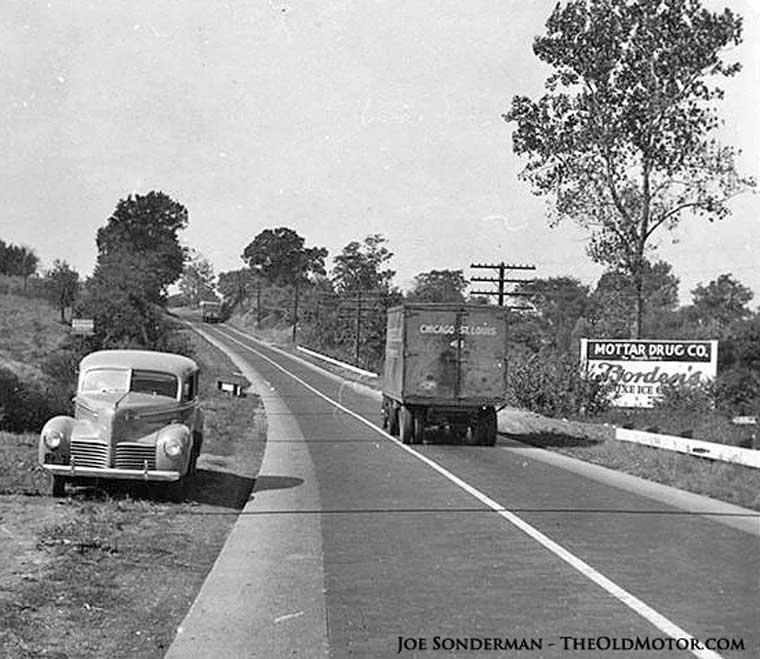 Route 66 paved with bricks Edwardsville Illinois