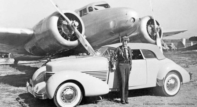 Amelia Earhart with her 1936 810 Cord and her Lockeed 10E Electra
