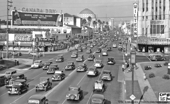 Vintage street scene filled with old antique cars Wiltern Theatre Los Angeles