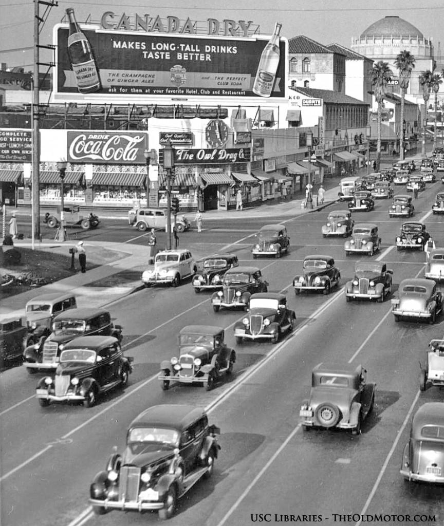 Wilshire Boulevard and Western Avenue Rush Hour Vintage Street Scene ...