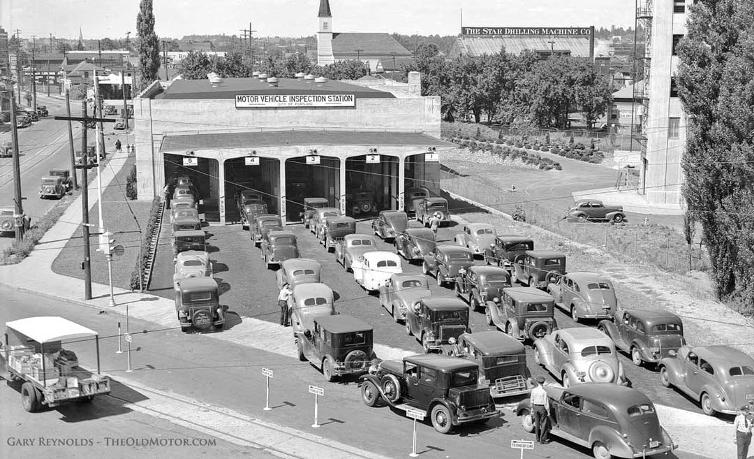 1939 Portland Oregon Automobile Inspection Station filled with old cars