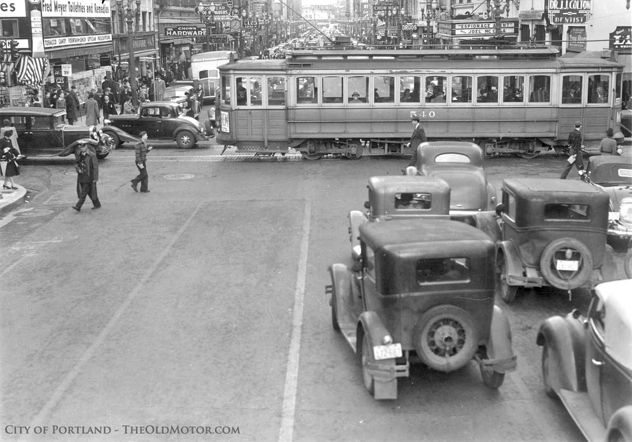 1940 Portland Oregon street scene with old and antique cars