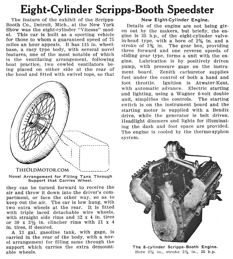 1916 Scripps Booth V8 Engine and Chassis Details