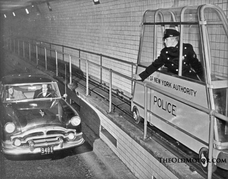 Port Of New York Authority Tunnel Police Use Catwalk Cars