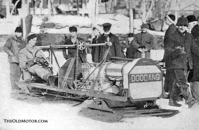 The Doodang motor driven ice boat snowmobile on Saranac lake