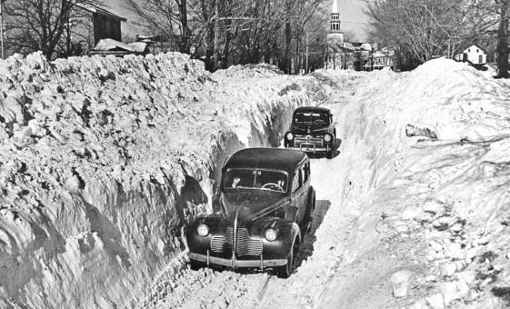 1940 Buick 1942 Ford Onondaga County New York Winter scene 1945