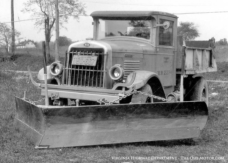 Indiana truck with a snow plow