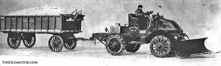 Kelly-Springfield truck with a V-plow