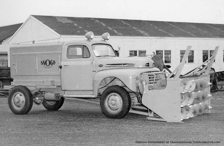 SNOGO snow blower mounted on a Ford Truck chassis with a Marmon-Herrington