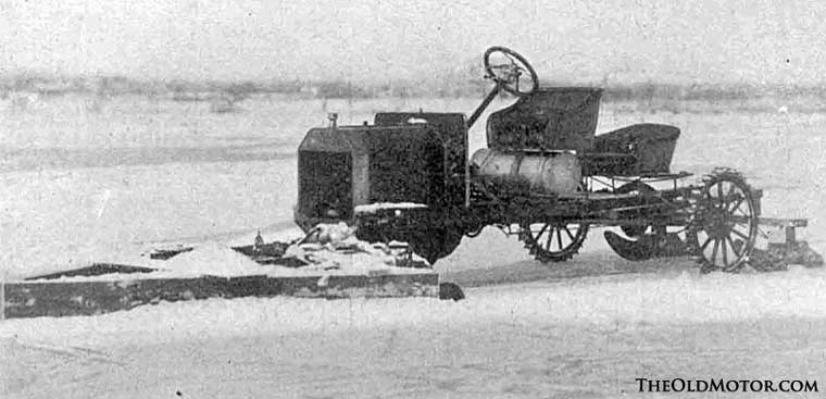 Model T Ford used for plowing a river