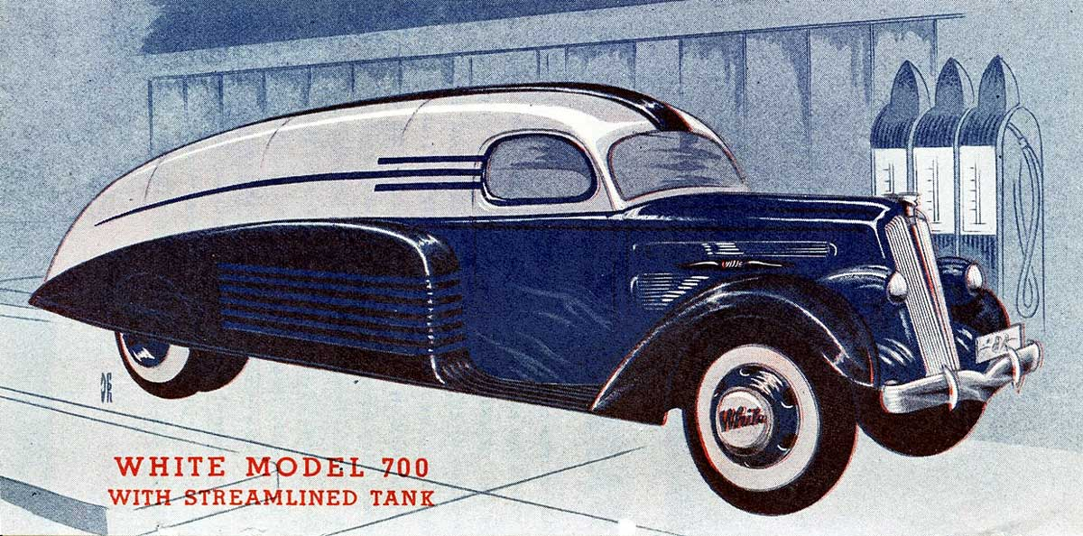 Streamlinded white truck designs by count sakhnoffsky for White motor company trucks