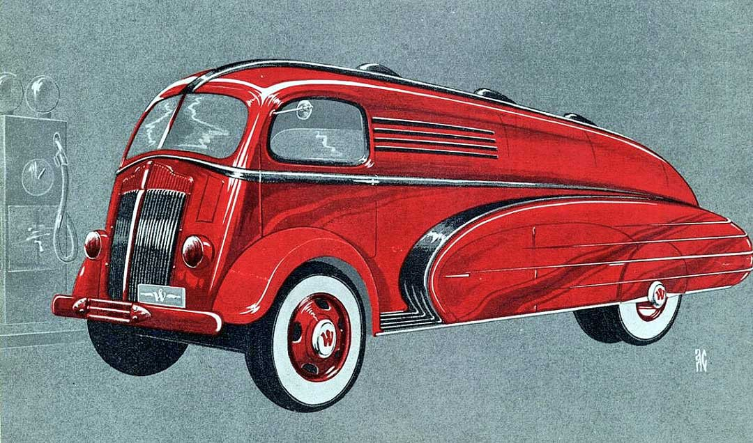 1930s Streamlined White Truck Designs By Count Sakhnoffsky