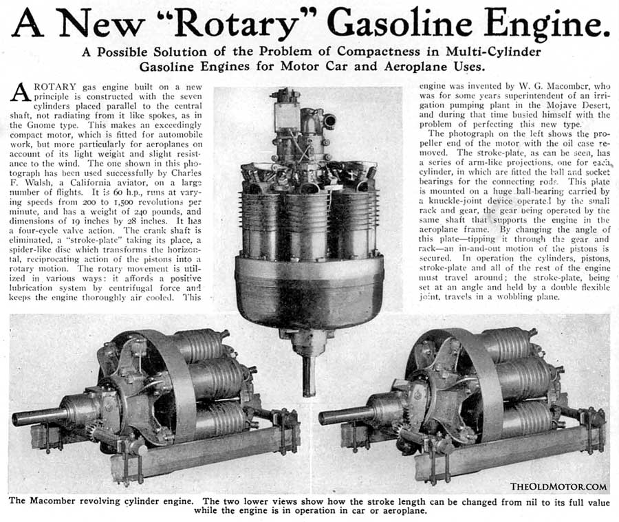 Walter G. Macomber\'s Seven-Cylinder Rotary Engined Car   The Old Motor
