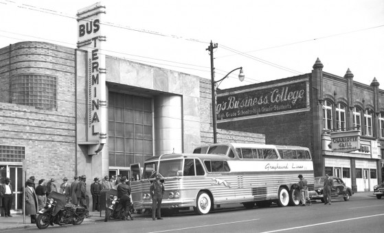 Scenicruiser Bus at a Greyhound Terminal in the 1940s