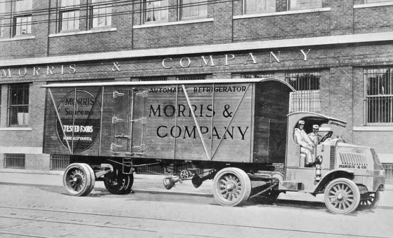 1920 Buldog Mack tractor and Morris & Company Refridgearated Tralier