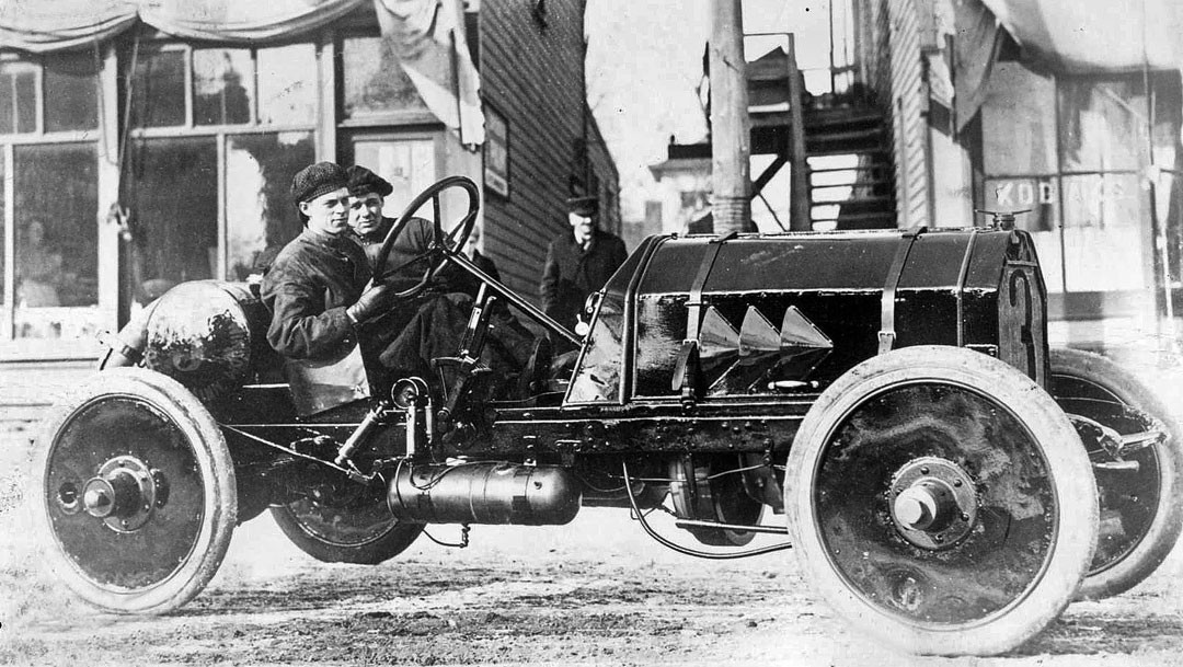 Otto Timm and Ted Moore With A Peerless Racing car
