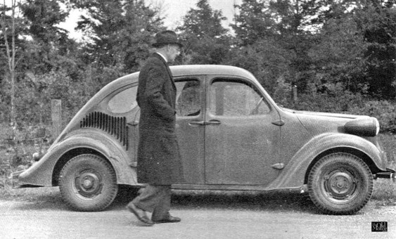 Charles F. Kettering with GM's Rear-Engined Experimental 1930s Economy Car Martia I and II and AD-800