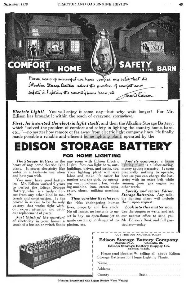 Edison alkaline storage battery and Lighting Plant