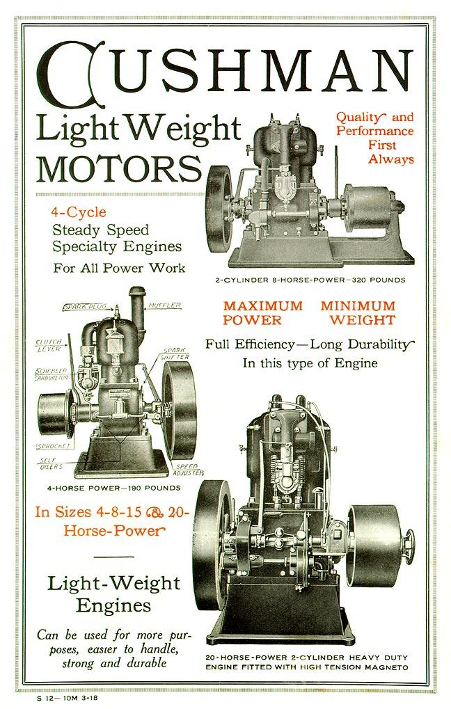 Cushman Engine Advertisement 1915