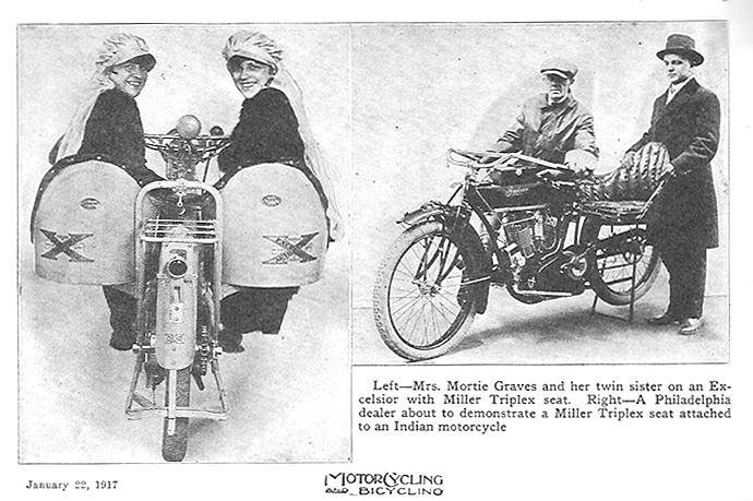 Excellisor and Indian Motorcycles with Miller Triplex Seats