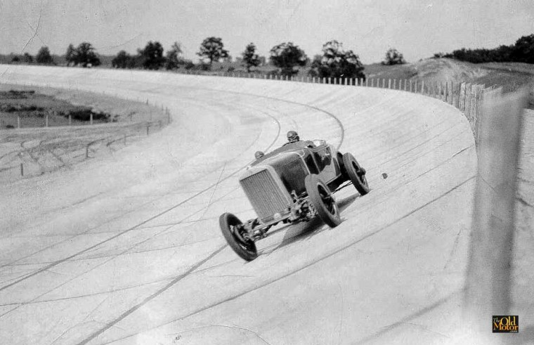 William Rader and Gus Bell at speed during the ten hour long 1927 LaSalle - 951.87 mile - June 20, 1927 endurance run at the GM Milford Proving Grounds