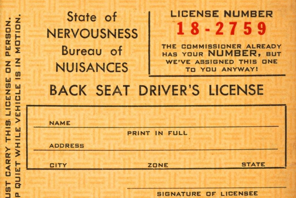 back seat driver's license – issued by the bureau of nuisances | the