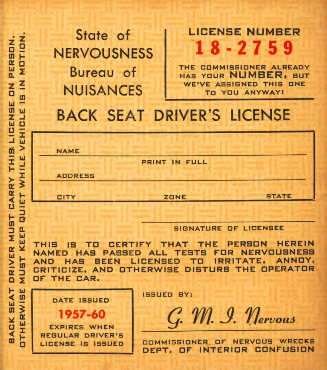 Back seat driver s license issued by the bureau of for Bureau licence