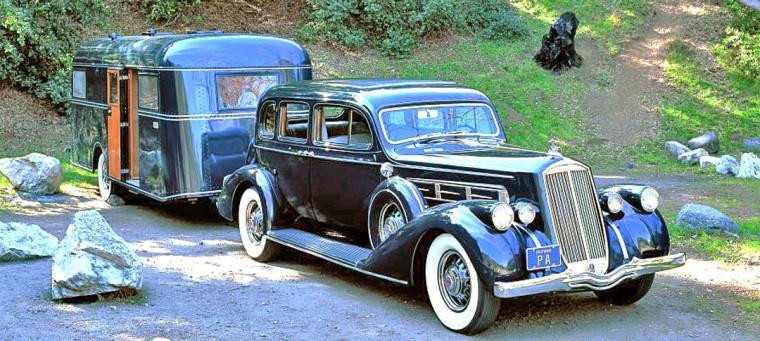 1937 Pierce-Arrow V-12 Limousine and a Pierce-Arrow Travelodge travel trailer