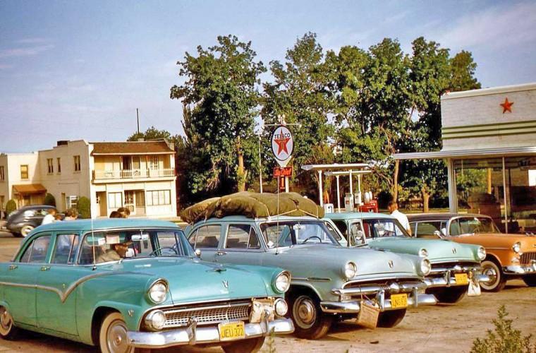 1950s Fords with desert water bottles