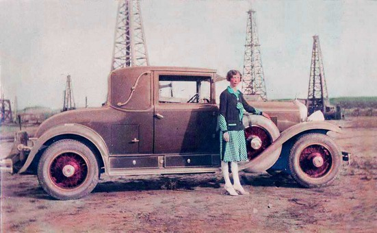 1928 and 1929 Cadillac Convertible Coupe and Texas oil wells