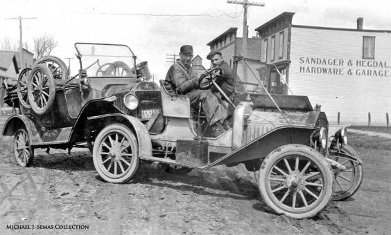 Model T Ford and Mystery car in Minnesota in the teens