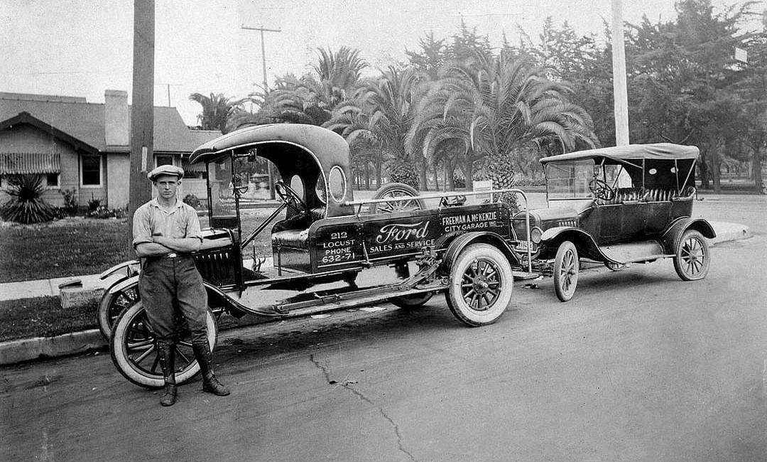 Freeman A. McKenzie's City Garage long beach CA Model TT Ford Service Truck