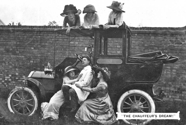 Women and Driver with Landaulet