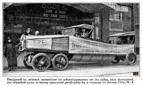 Jersey City, N.J. Woman Operates Six-Wheeled Advertising Car 1923