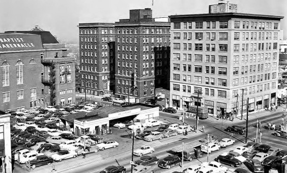 Gulf Station and Parking lot 1952
