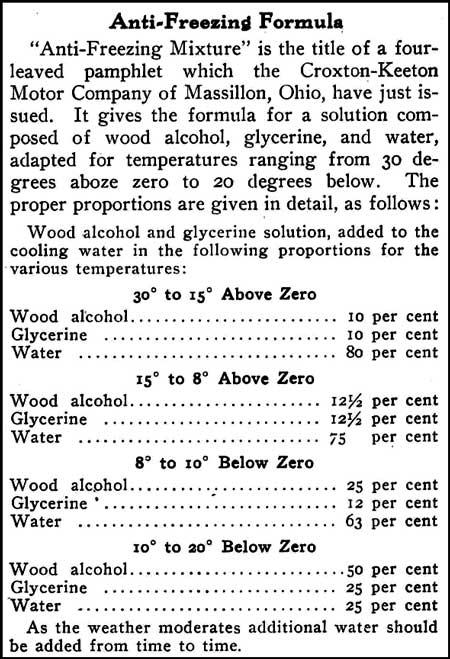anti-freezing formulas 1910