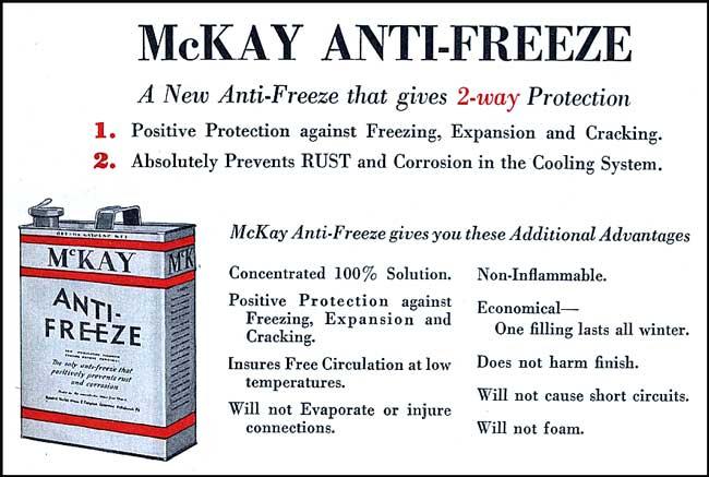 mckay antifreeze 1930