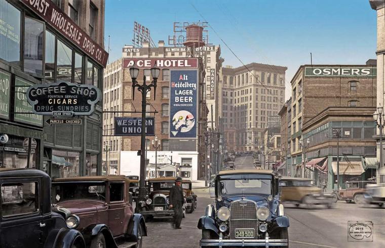 Seattle Street Scene 1933