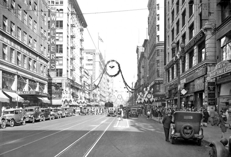 Christmas Street Scene Los Angeles 1929