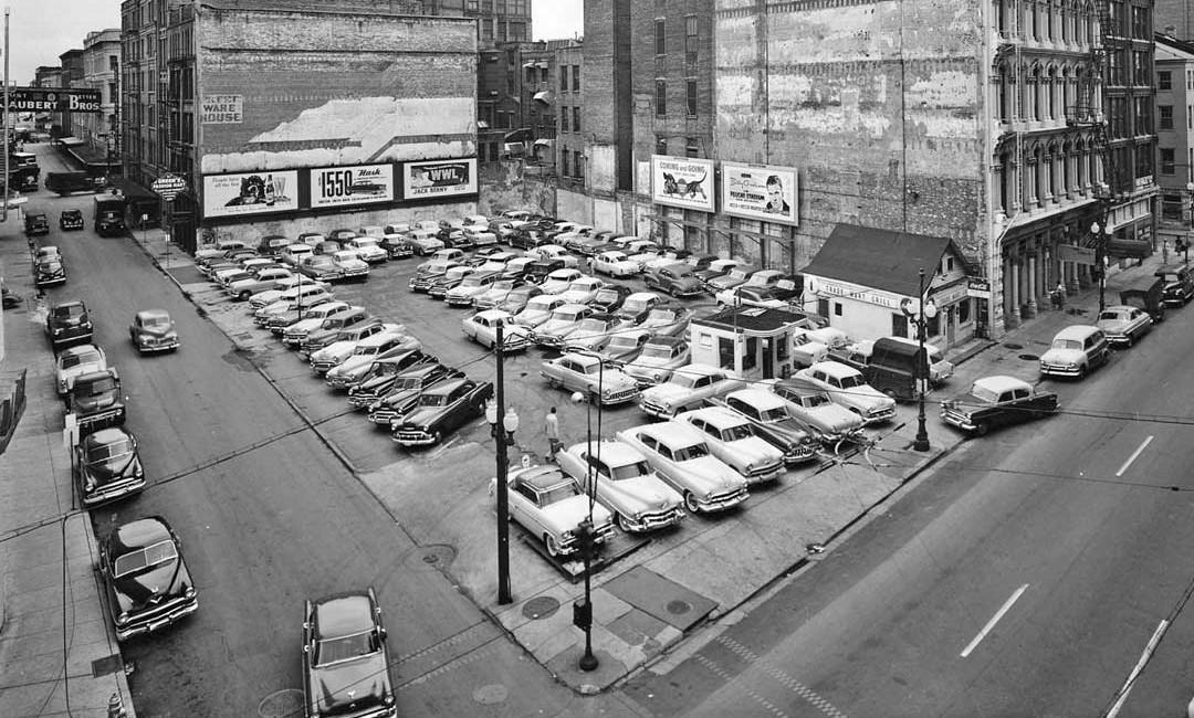 parking lot scene with a ford crestline skyliner in new orleans the old motor. Black Bedroom Furniture Sets. Home Design Ideas